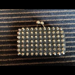 Street Level Vegan Leather Studded Clutch